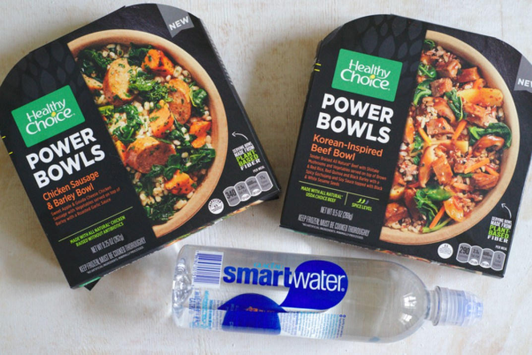 Healthy Choice Korean-Inspired Beef Bowl, Healthy Choice Chicken Sausage & Barley Bowl, and smartwater