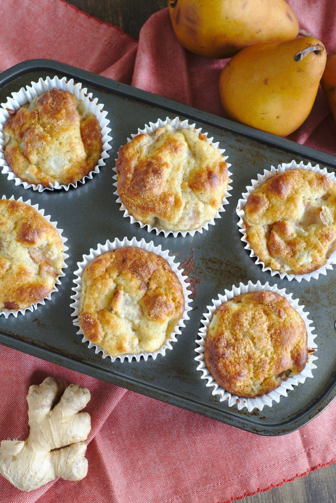 Bakery Style Ginger Pear Muffins