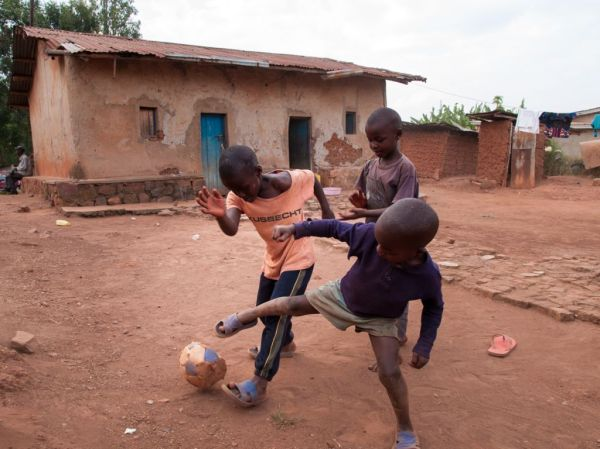 Boys playing football