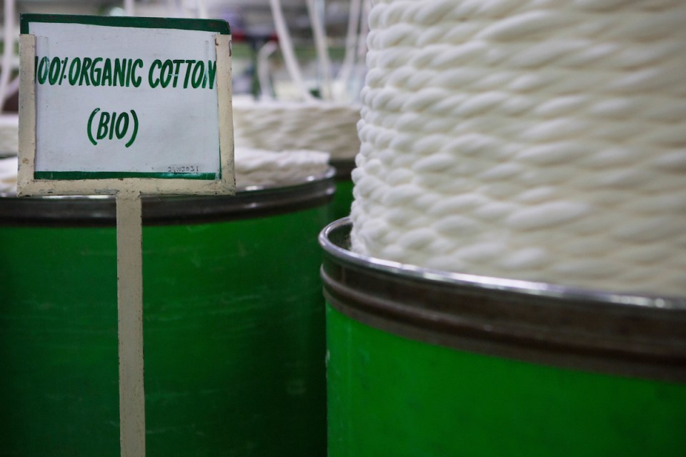 Organic cotton being spun in a factory, India