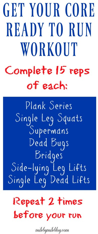 A core workout that will make up all the key muscles you need for your next run! Try this before your next workout, or any time you want to get some extra core work in!