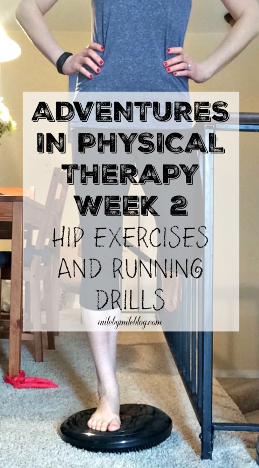 Week 2 of PT was focused on basic hip exercises and running drills. Here are some examples of what I learned.