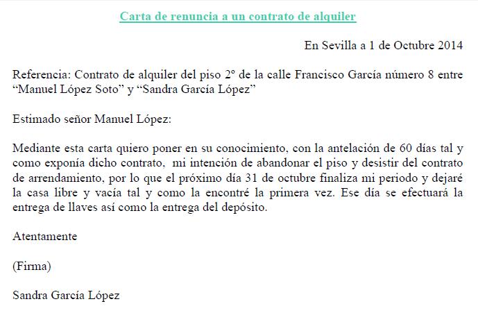 carta renuncia contrato alquiler  Ejemplos de carta