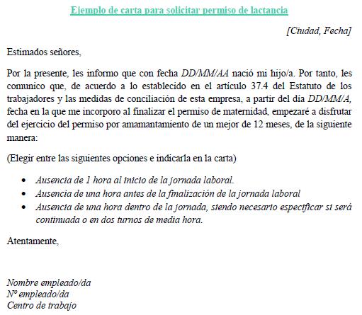 Ejemplo de carta para solicitar permiso de lactancia