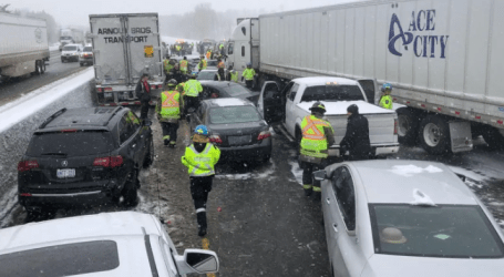Pileup involving more than 20 vehicles shuts Highway 401 westbound in Milton, Ont.