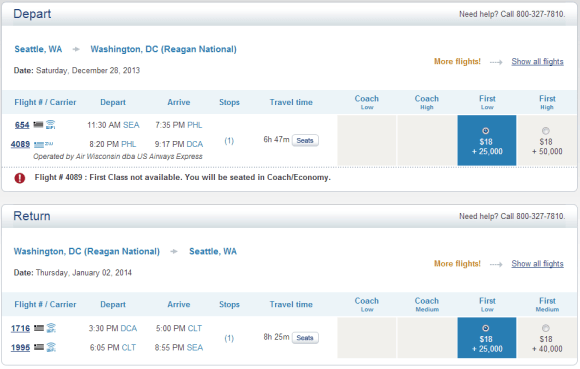Three out of the four segments of this are in First--with the shortest flight being in coach.