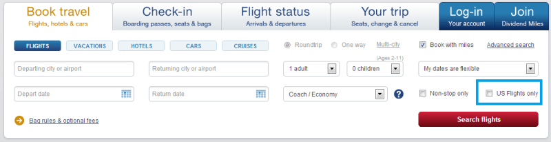 US Airways Main Search