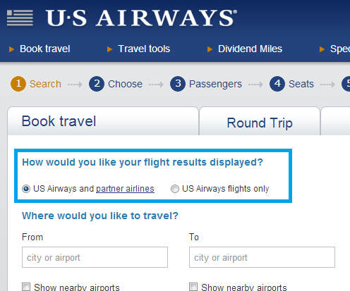 US Airways new search