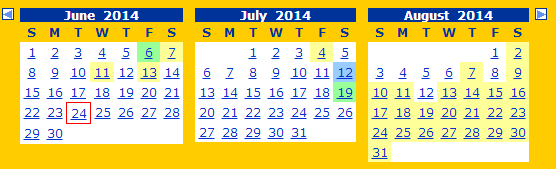 Only two months will show at a time, I've created this composite of 3 months to show eligible dates.