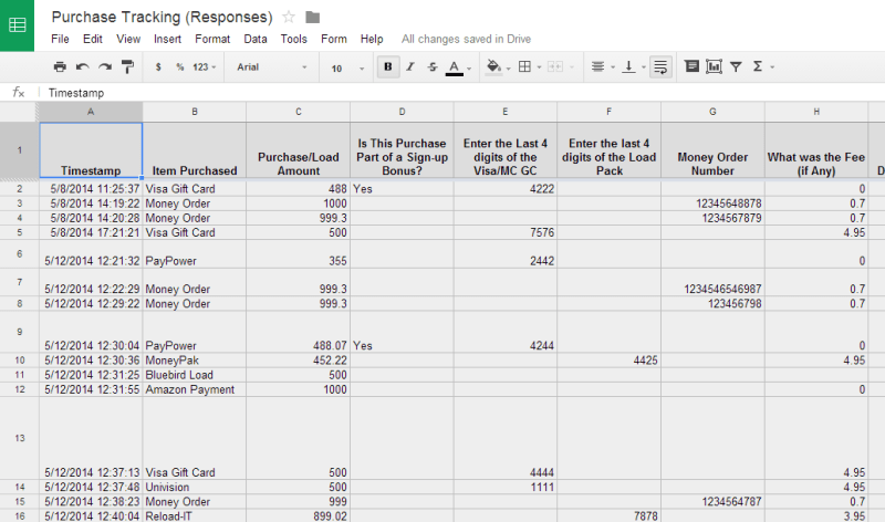 Purchase Tracking Responses