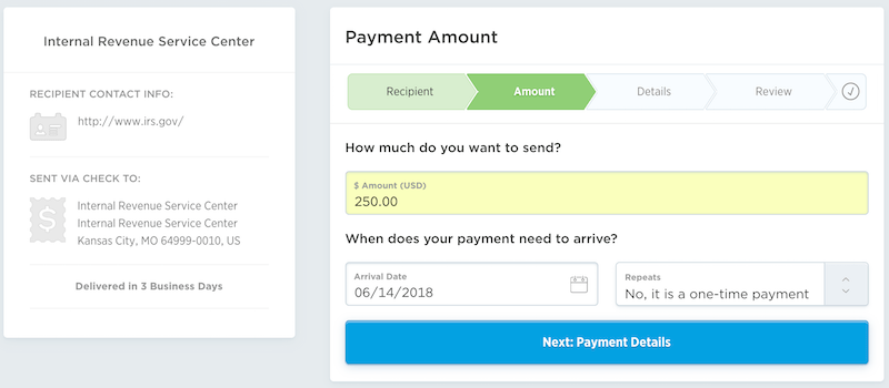Select the Payment Amount