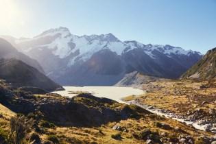 Mueller Lake, Hooker Valley Track, Mount Cook, National Park, hiking, Wandern, Wanderroute, Spaziergang, auf dem Weg
