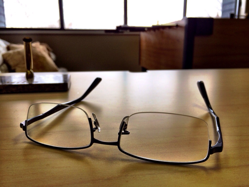 A pair of eye glasses.