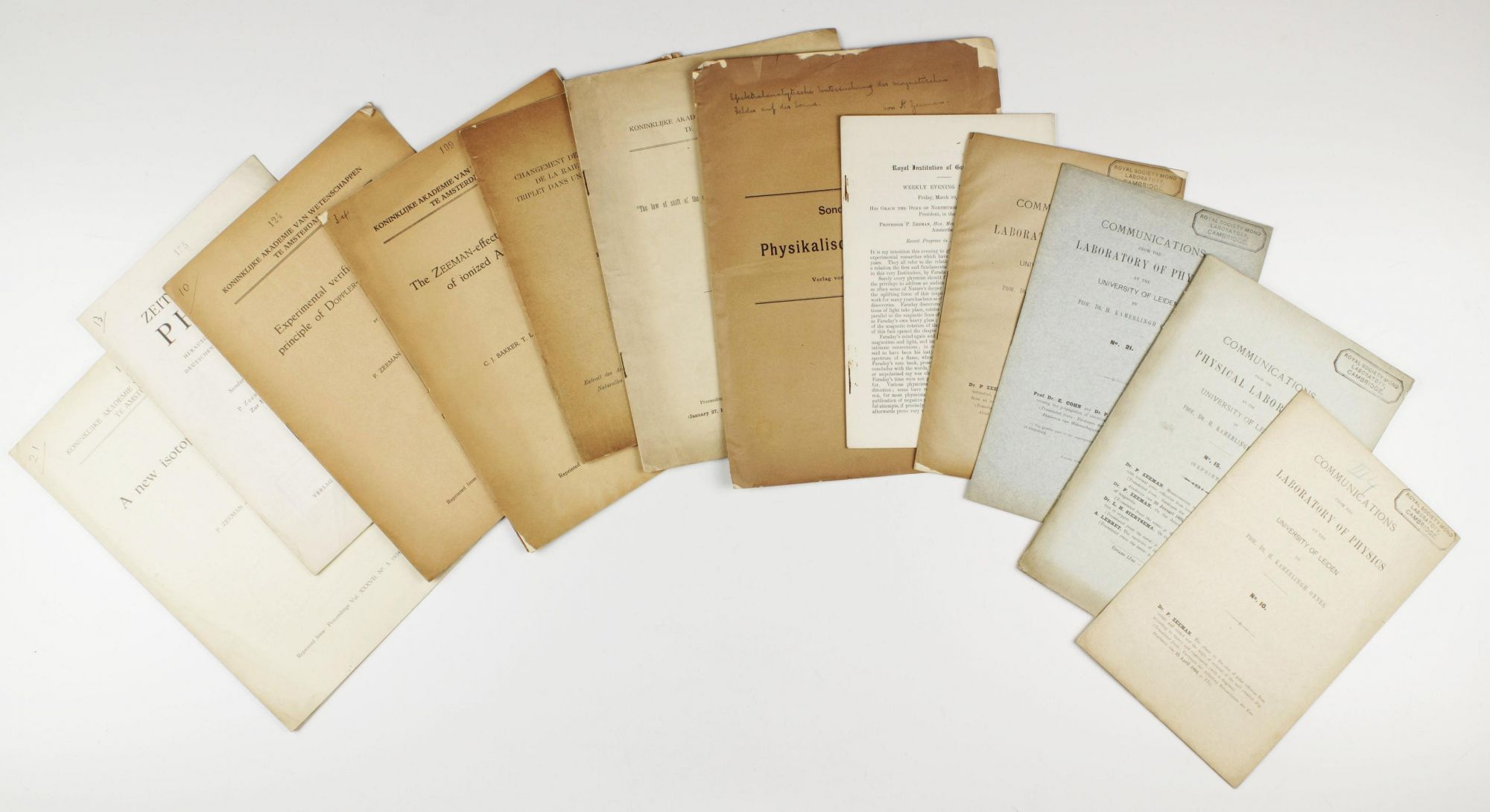 a group of 13 offprints by p zeeman nobel prize 1902 and co authors 1894 to 1936 one with signed presentation inscription to upper wrapper by
