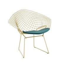 Bertoia Diamond Knoll Chair In Gold - Milia Shop