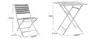MOJITO folding garden set with 2 chairs and table in white