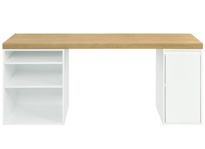 bureau scandinave avec tiroir et caisson ouvert blancs rackel