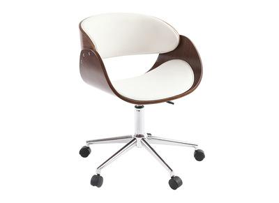 chaise de bureau a roulettes blanc et noyer bent