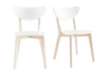 chaises design bois et blanc lot de 2 leena