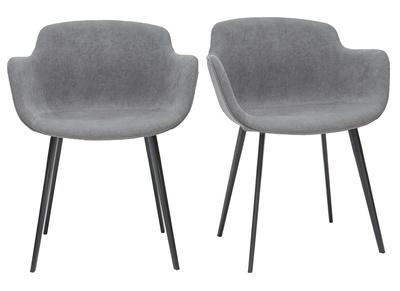 chaises design en tissu effet velours gris lot de 2 sake
