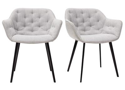 chaises design en tissu gris clair et pieds metal noir lot de 2 burton