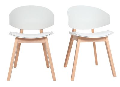 chaises scandinaves blanc et bois clair lot de 2 bloem miliboo stephane plaza