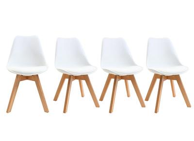 chaises scandinaves blanc et bois clair lot de 4 pauline