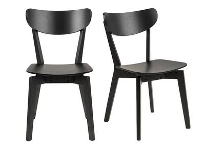 chaises scandinaves bois noir lot de 2 baki