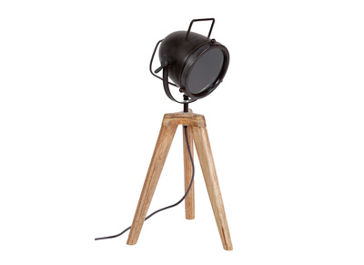 lampe a poser industrielle trepied bois et metal studio