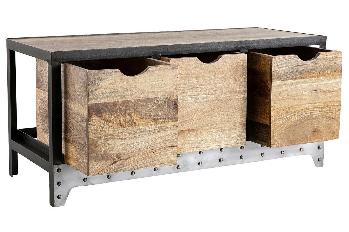 meuble rangement industriel en manguier