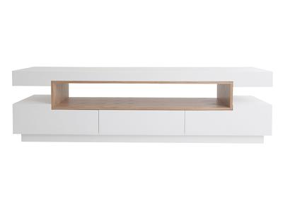 meuble tv design blanc et bois livo miliboo stephane plaza