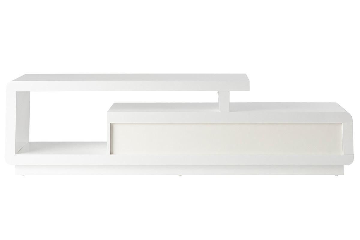 meuble tv design laque blanc avec