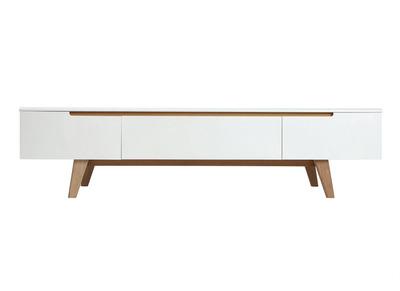 meuble tv scandinave blanc brillant et frene 180cm melka