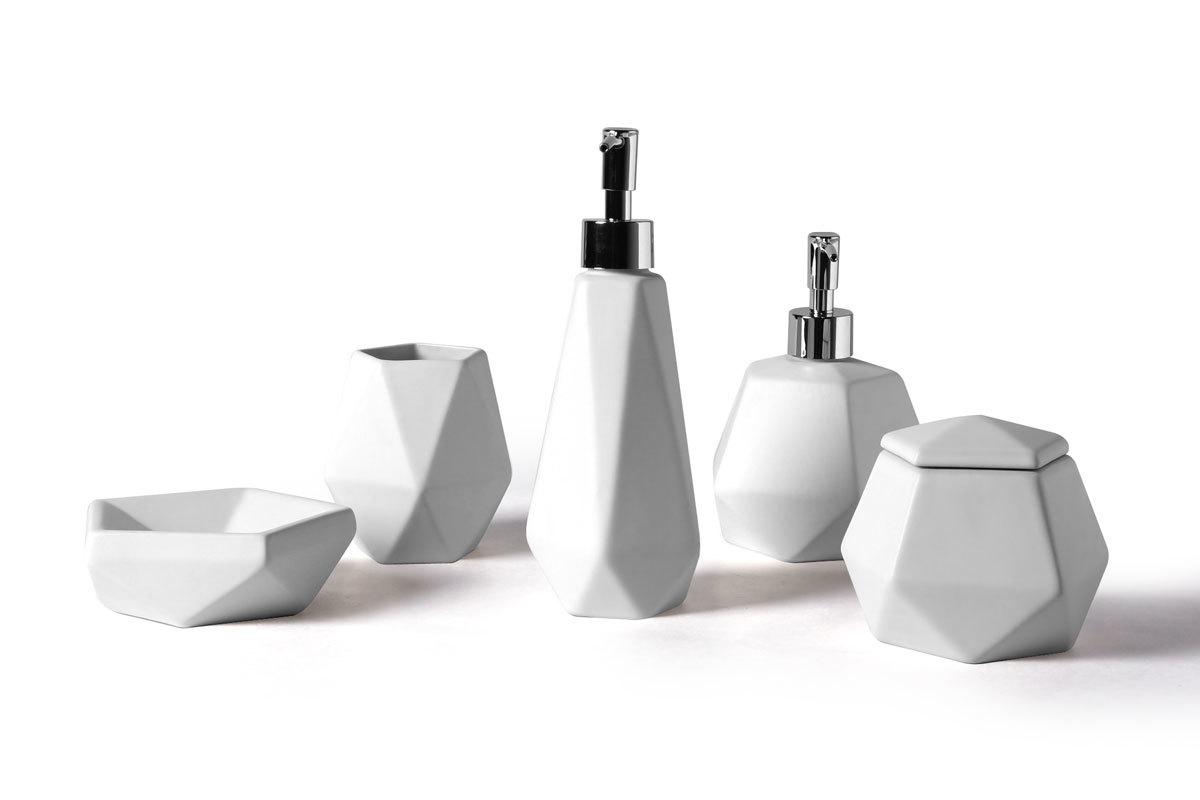 Set daccessoires de salle de bain design cramique blanc CUBIC  Miliboo
