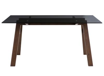 table a manger design en verre fume noir et bois l160 cm bacco