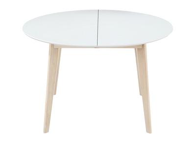table a manger ronde extensible blanc et bois l120 150 cm leena