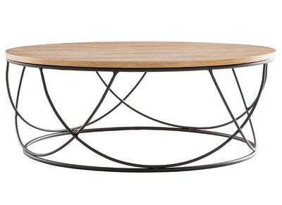 table basse ronde bois et metal noir d80 x h30 cm lace