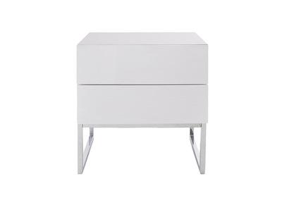 table de chevet design 2 tiroirs blanc laque brillant nyx