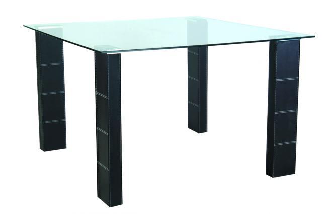 Tavolo da cucina  sala da pranzo quadrato in PVC e piano in vetro temperato Abby  Miliboo
