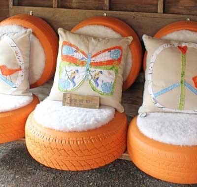 Ideas para decorar el jardn con neumticos reciclados  Mil Ideas de Decoracin