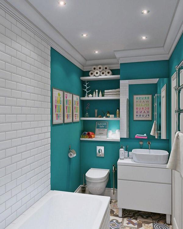 Feng Shui banyosu için renkler: Turkuaz