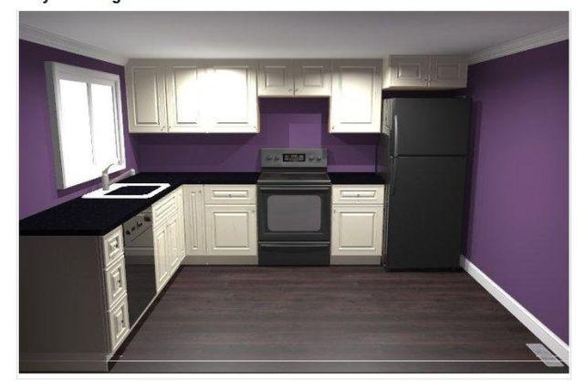 Mor boyalı mutfak