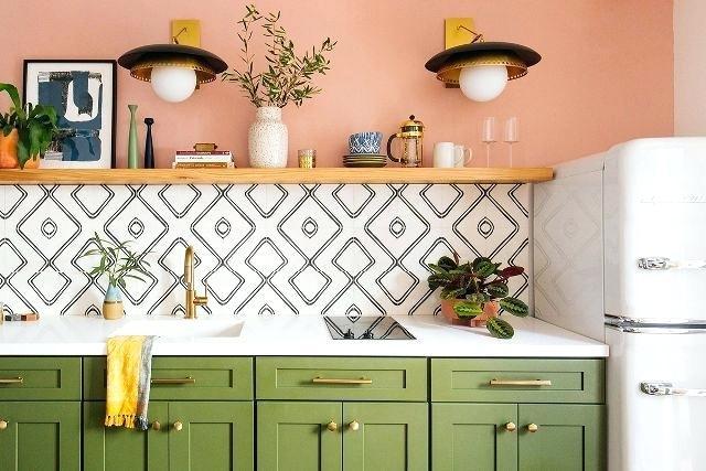 Somon boyalı mutfak
