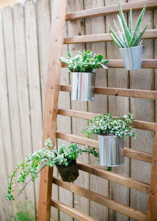 Un soporte para colgar y decorar con suculentas