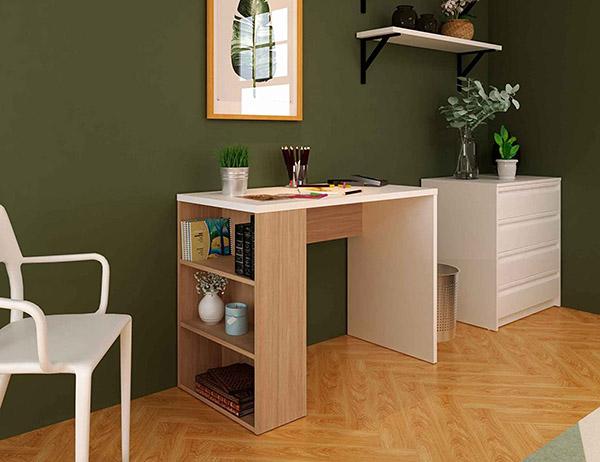 Beyaz ve ahşaptan ucuz modern gençlik masası