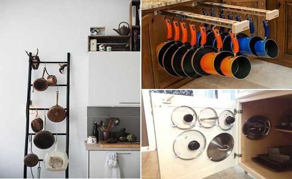 Soluciones prcticas para organizar las tapaderas ollas y