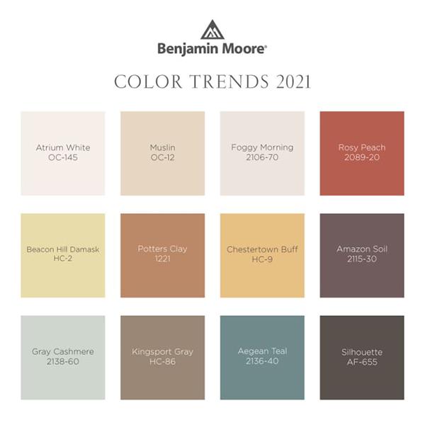 Benjamin Moore'un 2020 Ege Teal Yeşilimsi Mavi Yılın Rengi ile uyumlu renk paleti