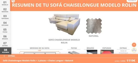 Resumen de pedido de un sofá a medida con precio