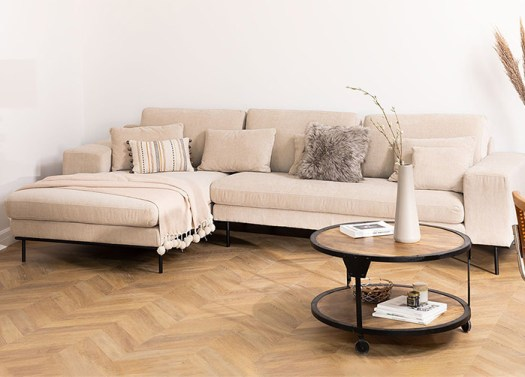 Sofá de 4 plazas ligero beige