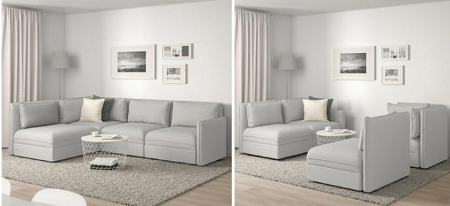 Küçük oturma odaları için modüler ve rahat bir kanepe